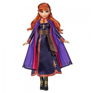 Disney Frozen 2 Singing Anna Fashion Doll with Music Wearing a Purple Dress - Clearance Sale