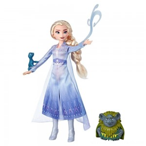 Disney Frozen 2 Elsa Fashion Doll In Travel Outfit With Pabbie and Salamander Figures - Clearance Sale