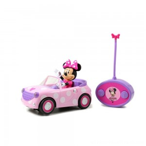 "Jada Toys Disney Junior RC Minnie Bowtique Roadster Remote Control Vehicle 7"" Pink with White Polka Dots - Clearance Sale"