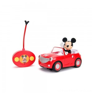 "Jada Toys Disney Junior RC Mickey Mouse Club House Roadster Remote Control Vehicle 7"" Glossy Red - Clearance Sale"