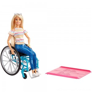 Barbie Fashionistas Doll #132 Blonde with Rolling Wheelchair and Ramp - Clearance Sale