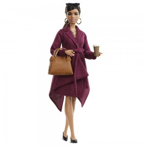 Barbie Signature Styled By Chriselle Lim Collector Doll in Burgundy Trench Dress - Clearance Sale