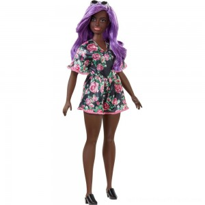 Barbie Fashionistas Doll #125 Black Floral Dress - Clearance Sale