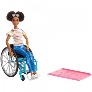 Barbie Fashionistas Doll #133 Brunette with Rolling Wheelchair and Ramp - Clearance Sale
