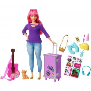 Barbie Daisy Travel Doll & Kitten Playset - Clearance Sale