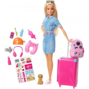 Barbie Travel Doll & Puppy Playset - Clearance Sale