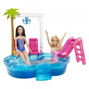 Barbie Glam Pool with Water Slide & Pool Accessories - Clearance Sale