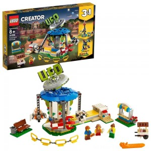 LEGO Creator Fairground Carousel 31095 Space-Themed Building Kit with Ice Cream Cart 595pc - Clearance Sale